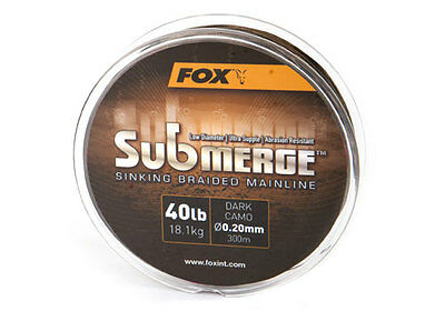 Fox NEW Submerge Sinking Braided Mainline 300m & 600m - Dark Camo 25lb or 40lb