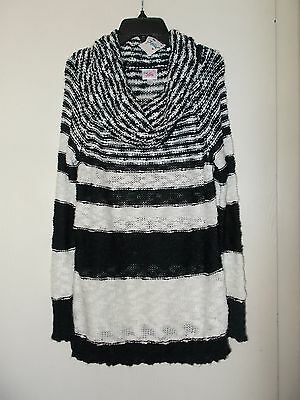Girls Size 16 Justice Long Sleeve Black & White Striped Sweater NWT