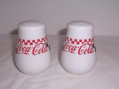 Coke Coca-Cola 1996 Salt & Pepper Checkered Shakers Gibson Discontinued