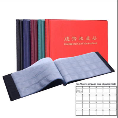 RED 120 Collection Storage Penny Pockets Money Album Book Collecting Coin Holder