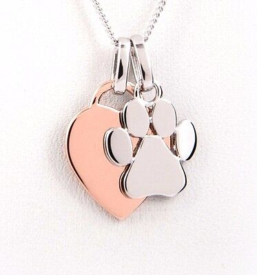 Engraved Paw Print Charm Heart Necklace - Dog Lover Gift - Dog Paw Necklace