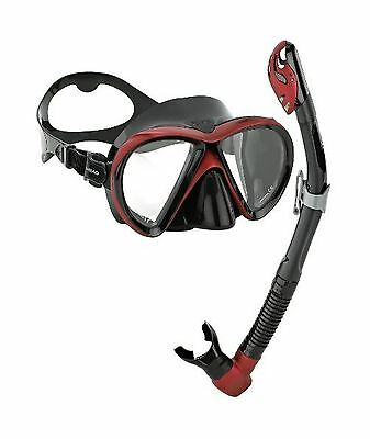 Head by Mares Scuba Snorkeling Dive Mask Dry Snorkel Set Black Red
