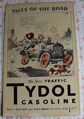 Rare Vintage TYDOL TALES OF THE ROAD POSTER Advertising Gasoline Traffic Duck