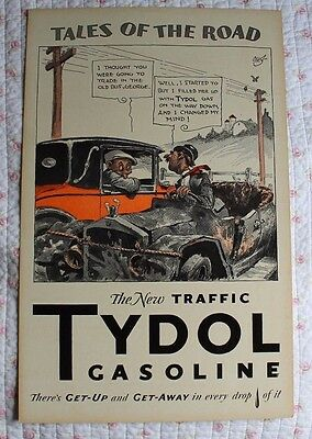 Rare Vintage TYDOL TALES OF THE ROAD POSTER Advertising Gasoline Get-Up