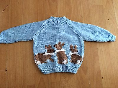 """Fab NEW Blue Hand Knitted Baby Jumper Flopsy Bunnies 18"""" 0-6 months Gift"""