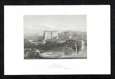Original Antique Engraving-Egypt:The Ruined Temples at Philae-published1834