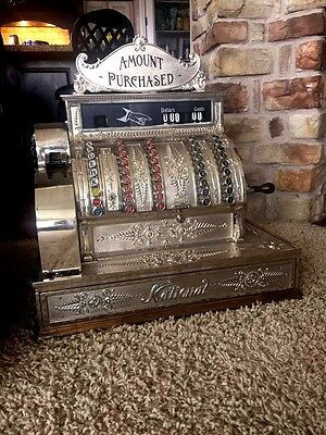 Restored Late 1800's Model 92  Antique Nickel Plate Brass National Cash Register