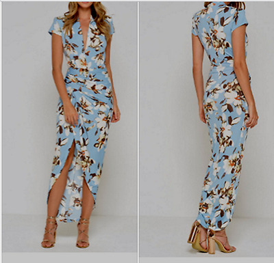 John Zack  Wrap Over Cap Sleeve Maxi/Midi  Dress  in Blue Floral