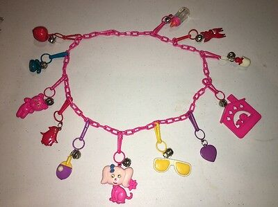 Vintage 1980's Necklace & Clip On Charm Lot Of (12) Plastic Collectable Toy