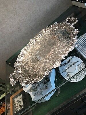 Estate Find Super Ornate Large 28 Inch Silver Plate On Copper Tray Footed