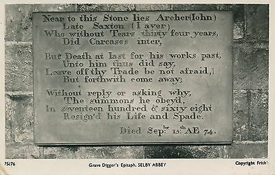 PC81818 Grave Diggers Epitaph. Selby Abbey. Frith. No 75676