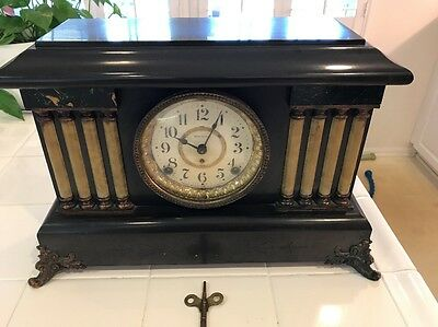 Antique Seth Thomas Adamantine Eight Columns Lions Heads 8 Day Mantle Clock
