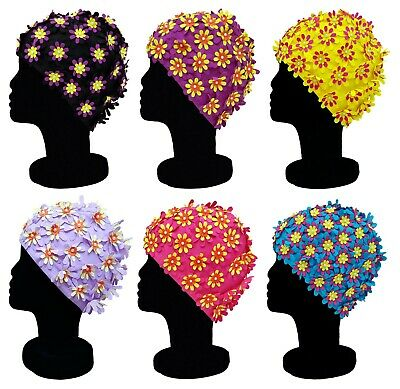 BLUE REEF Polyester Elasticated Swimming Hat Flower Cut Out Multicolour Design