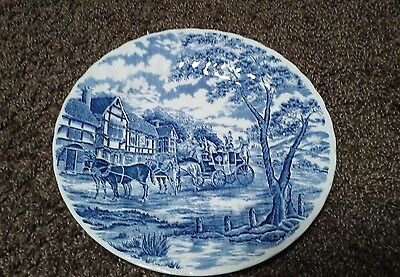 "Vintage Royal Wessex Blue Willow 10"" Plate Swirl Edge Stage Coach Scene England"