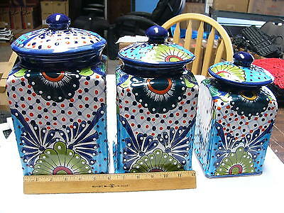 3 piece Talavera Pottery Ceramic Square Canister Set Hand paint Made in Mexico