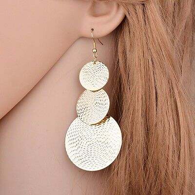 Long Big Gold Disc Earrings Round Statement Party Drop Circle Ethnic Boho Large