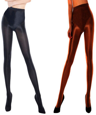 3 Pairs Ladies Ultra Glossy Opaque Tights With Lycra* One Size Hips 36-42""