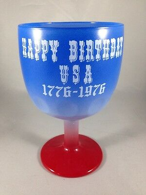 Happy Birthday USA 1976 Bicentennial Red White and Blue Glass Goblet