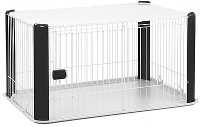 Large Dog Playpen w/ Roof Pet Crate Puppy Cat Small Animals, Black, Iris Ohyama