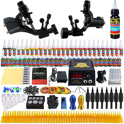 Complete Tattoo Kit 2 Rotary Machine Guns 54 Inks Foot Pedal Needles Grips Tips