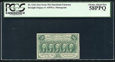 Fr. 1312 50 Fifty Cents First Issue Fractional Currency Pcgs Au-58Ppq