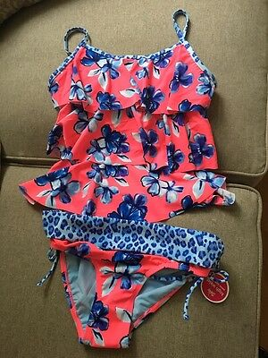 Justice Girls Tankini Bathing Suit Cheetah Floral Blue Swimsuit Size 14
