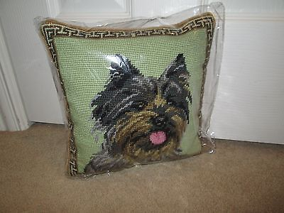 CAIRN TERRIER Dog Handmade Needlepoint Pillow 10 by 10  NWT Last One
