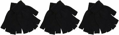 3 Pairs Ladies Black Magic Fingerless Gloves One Size
