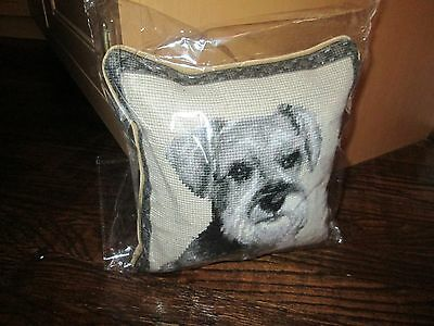 SCHNAUZER Face Dog Handmade Needlepoint Pillow 10 by 10  NWT