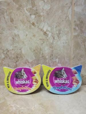 15 x Whiskas Temptations Cat Treats With Chicken and Cheese OR Salmon 60 g