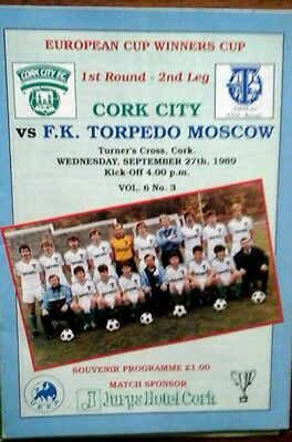 Cork City V Torpedo Moscow 27/9/1989 European Cup Winners Cup