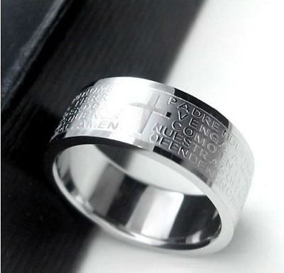 Silver Rings For Men Women Stainless Steel Bible Lord's Prayer Cross Rings