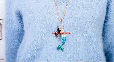 Awesome Mermaid Necklace Blue Green Mermaid Pendant Long Necklace Jewelry Gift