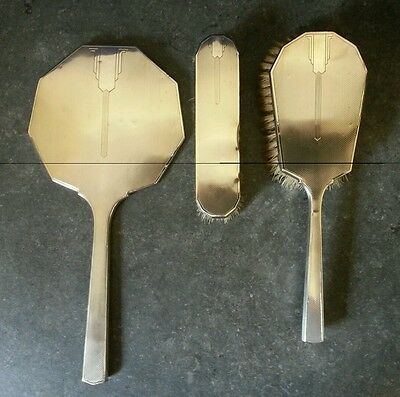 Vintage Hallmarked Silver Art Deco  Hand Brush & Mirror Dressing Table Set 1937