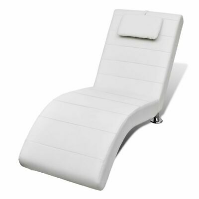 New White Artificial Leather Chaise Longue with Pillow 150 x 60 x 80 cm