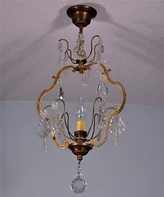 French Antique Bronze & Crystal Chandelier Professionally Re-wired Hanging Lamp
