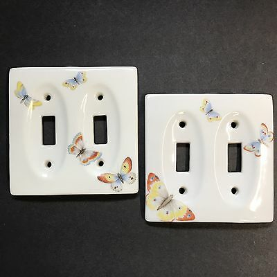 Vintage Porcelain Butterfly Double Light Switch Plates Lot Of 2 Cottage Decor