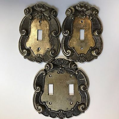 Vernon Vintage Brass Light Switch Plates Lot of 3 Double Single Ornate