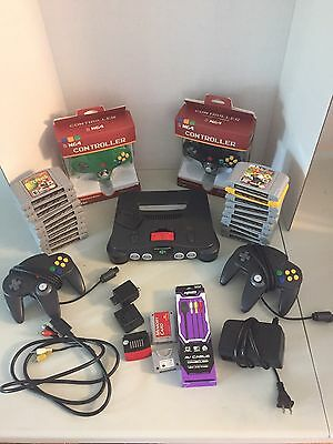 Nintendo 64 Bundle Lot N64 Mario 20 Games 4 Controllers