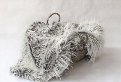 """Faux Fur Mongolian Newborn Photography Blanket silver frost 18""""x 20"""" Inches"""