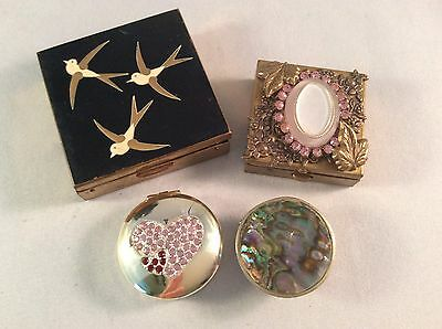 Vintage Slightly Damaged Lot Of 3 Trinket Boxes  And 1 ELGIN Powder Case