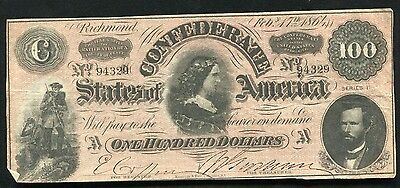 """T-65 1864 $100 One Hundred Csa Confederate States Of America """"Lucy Pickens"""" (F)"""