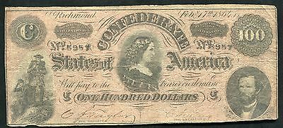 """T-65 1864 $100 One Hundred Csa Confederate States Of America """"Lucy Pickens"""" (G)"""