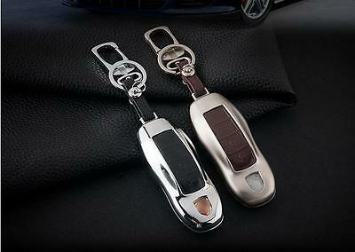 leather metal car key case For Porsche 911 boxster macan cayenne panamera
