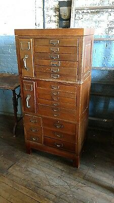 Antique Oak Ledger File Barrister Three Stack Cabinet Globe Macey Card Catalog