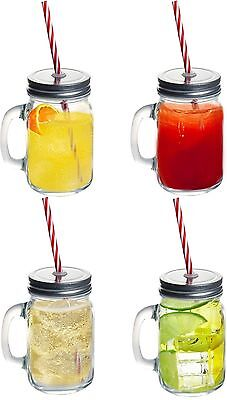 4 X Clear Glass Mason Jam Jars Drinking Summer Cocktail Jar Handle & Straw 450Ml