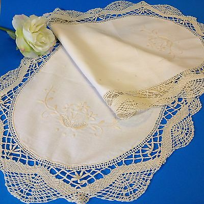 Ecru Cotton Table Runner - 80cm x 35 cm - Shadow Embroidered, Edged with Lace