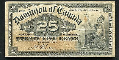 "1900 25 Twenty Five Cents Dominion Of Canada Banknote ""Shinplaster"""