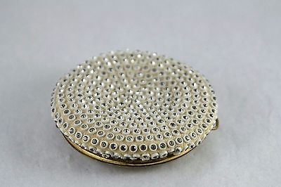 Vtg Evans Round Compact Enamel Top Soft Rhinestone Bottom Gold Tone