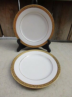"""2 Royal Gallery Gold Buffet 8 1/2"""" Salad Plates Gold Encrusted Band White Ctr"""